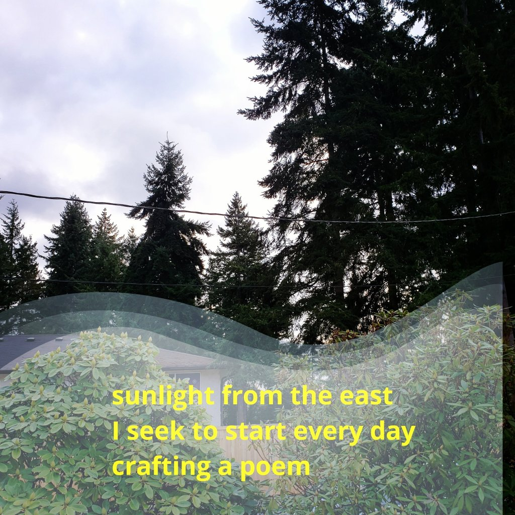 sunlight from the east, I seek to start every day, crafting a poem